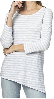 Lilla P 3/4 Sleeve Asymmetrical Tunic Top (Blue Stripe) Women's Clothing