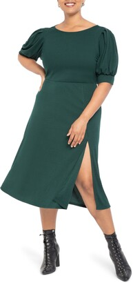 ELOQUII Puff Sleeve Cowl Back Dress