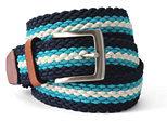 Lands' End Men's Stripe Elastic Braid Belt-Turquoise Tides Stripe
