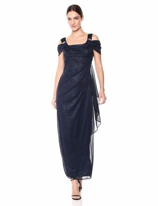 R & M Richards R&M Richards Women's One PCE Long Missy Matte Chiffon Cowl Bodice Dress Formal Night