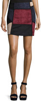 Romeo & Juliet Couture Faux-Suede Patchwork Skirt, Wine Combo