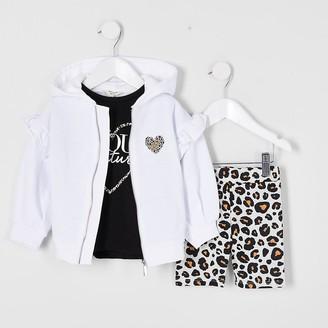 River Island Mini girls white hoodie 3 piece set