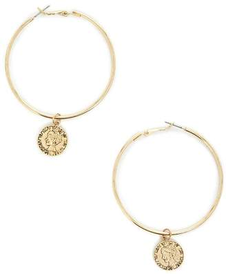 Forever 21 Equality Coin Hoop Earrings