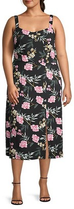 Vero Moda Floral-Print Scoopneck Front Slit Midi Dress
