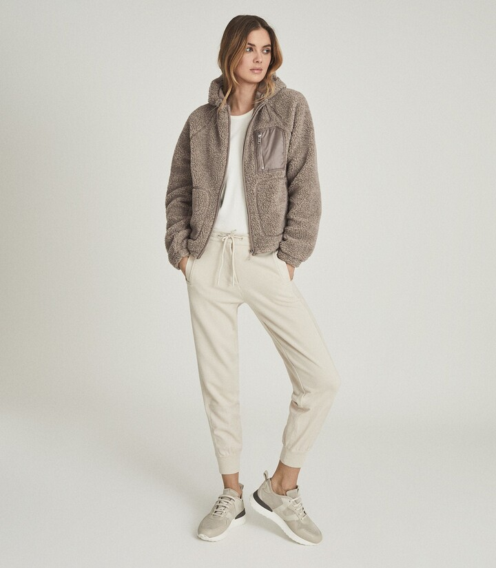 Thumbnail for your product : Reiss Jaxon - Wool Blend Sherpa Fleece Jacket in Mushroom