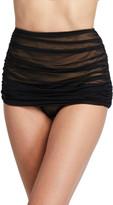 Norma Kamali Bill Shirred Mesh High-Waist Bikini Bottom
