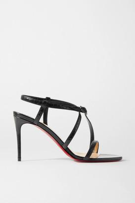 Christian Louboutin Selima 85 Croc-effect Leather Sandals - Black