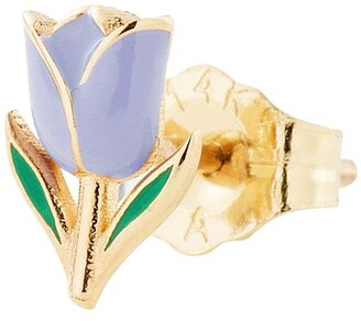 Alison Lou 14kt Yellow Gold Lilac Enamel Tulip Stud