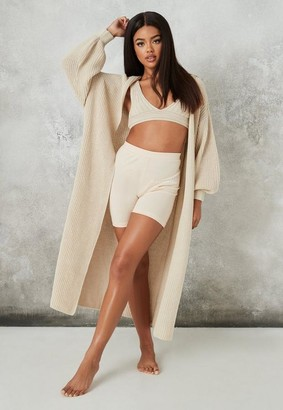Missguided Cream Co Ord Knit Maxi Batwing Cardigan