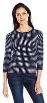 Sag Harbor Women's 3/4 Sleeve Scoop Neck Grid Stitch Pullover