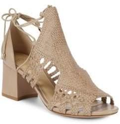 Alexandre Birman Textured Block Heel Leather Sandals