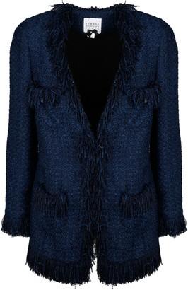 Edward Achour Paris Tweed Coat With Fringes