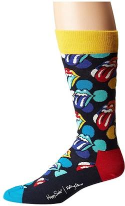 Happy Socks Rolling Stones Big Licks Socks (Blue/Yellow) Men's Crew Cut Socks Shoes