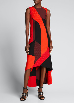 Alexander McQueen Sleeveless Long Printed High-Low Dress