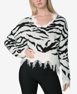 Polly & Esther Juniors' Animal-Print Destructed Sweater