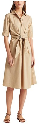 Lauren Ralph Lauren Cotton-Blend Shirtdress (Birch Tan) Women's Clothing