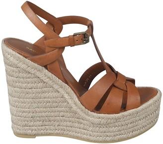 Saint Laurent Side Buckled Wrap Wedge Sandals