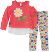 Kids Headquarters 2-Pc. Layered-Look Cold-Shoulder Tunic and Printed Leggings Set, Baby Girls