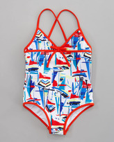 Milly Minis Sailboat Crisscross Swimsuit, Sizes 8-10