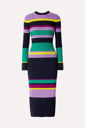 Lela Rose Color-block Ribbed Wool-blend Midi Dress - Navy