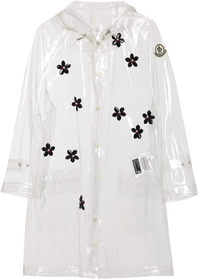 Moncler Genius + Floral-Appliquéd PVC Hooded Raincoat