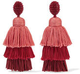 Oscar de la Renta Tiered Beaded Tassel Clip Earrings - one size