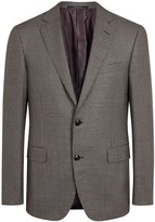Pal Zileri Brown Checked Wool Blend Blazer