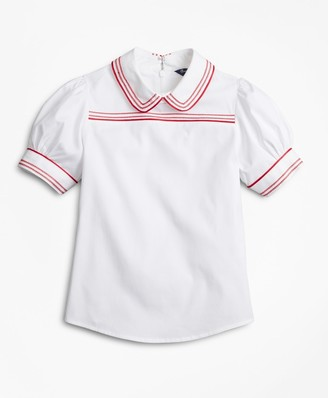 Brooks Brothers Girls Cotton Puff Sleeve Blouse