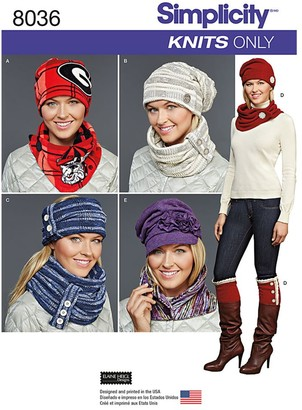 Simplicity Women's Cold Weather Accessories Sewing Pattern, 8036