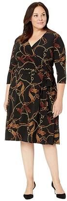 Lauren Ralph Lauren Plus Size Print Fit-and-Flare Dress (Black/Gold/Multi) Women's Clothing