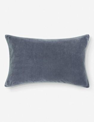 Lulu & Georgia Charlotte Velvet Lumbar Pillow, Shale Blue