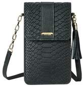 GiGi New York Penny Python-Embossed Leather Clutch