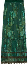 Anna Sui Iridescent Moonlight Garden Fil Coupé Silk-blend Chiffon Skirt - Green