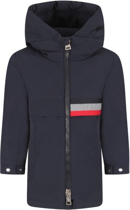Moncler Blue Jacket For Boy With Logo