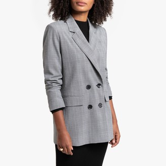 La Redoute Collections Longline Straight Double-Breasted Blazer in Prince of Wales Check