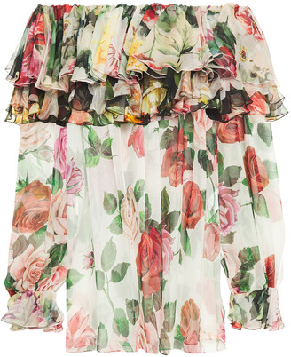 Dolce & Gabbana Off-the-shoulder Ruffled Floral-print Silk-voile Blouse