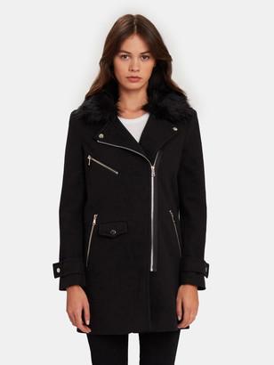 John & Jenn Wilbur Zip Fur Collar Moto Jacket