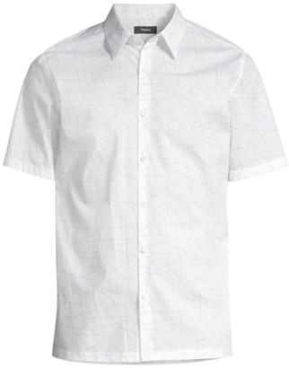 Theory Irving Short-Sleeve Printed Shirt