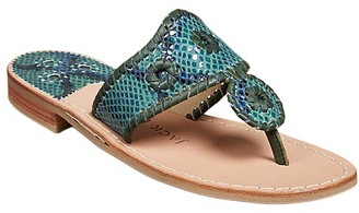 Jack Rogers Women's Sandals GREEN - Green Snake Stitch-Accent Jacks Leather Sandal - Women