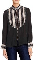 Love Sam Lace-Inset Pleated Blouse