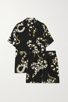 Olivia von Halle Emeli Printed Silk Crepe De Chine Pajama Set - Black