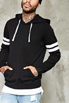 Forever 21 FOREVER 21+ Varsity-Stripe Hooded Sweater
