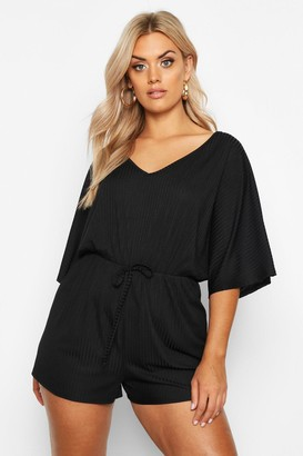 boohoo Plus Wide Rib V Neck Playsuit