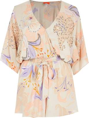 River Island Printed Kimono Sleeve Wrap Front Beach Playsuit