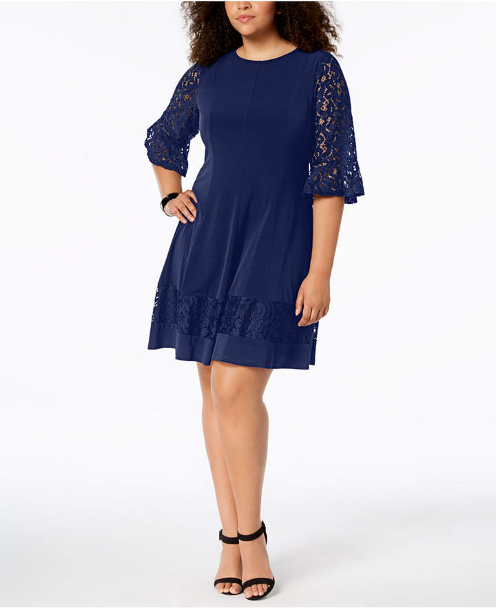 f28f237dc86 Plus Size Navy Lace Dress - ShopStyle