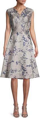 Zac Posen Metallic Jacquard A-Line Dress