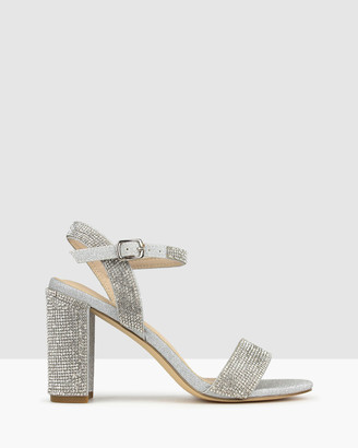 betts Women's Silver Block Heels - Sherbet Diamante Block Heel Sandals - Size One Size, 6 at The Iconic