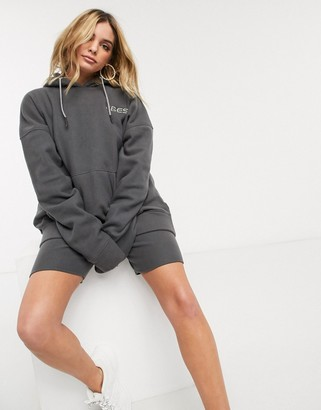 Public Desire oversized hoodie with vibes embroidery in fleece two-piece