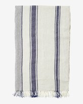 Toast Striped Linen Beach Towel