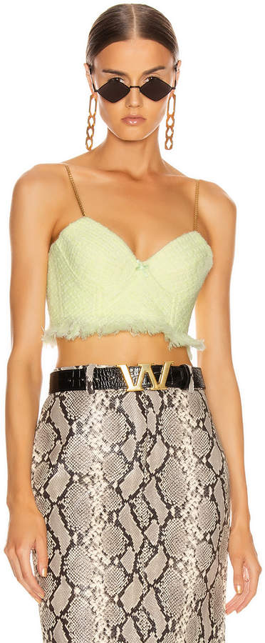 Alexander Wang Tweed Bra Chain Strap Top in Highlighter | FWRD